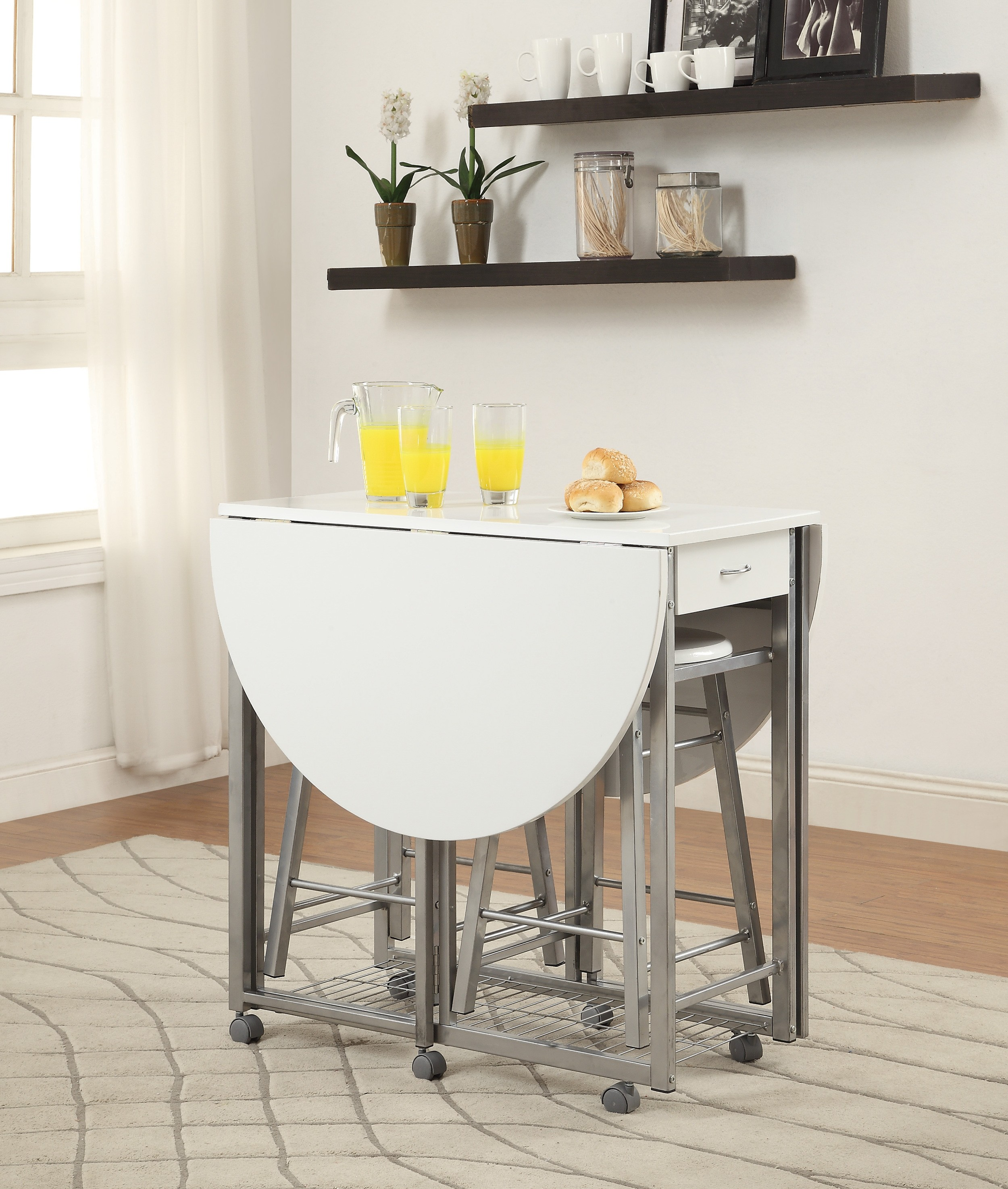 3 Pc Counter Height Dining Set Table Has Two Drop Down
