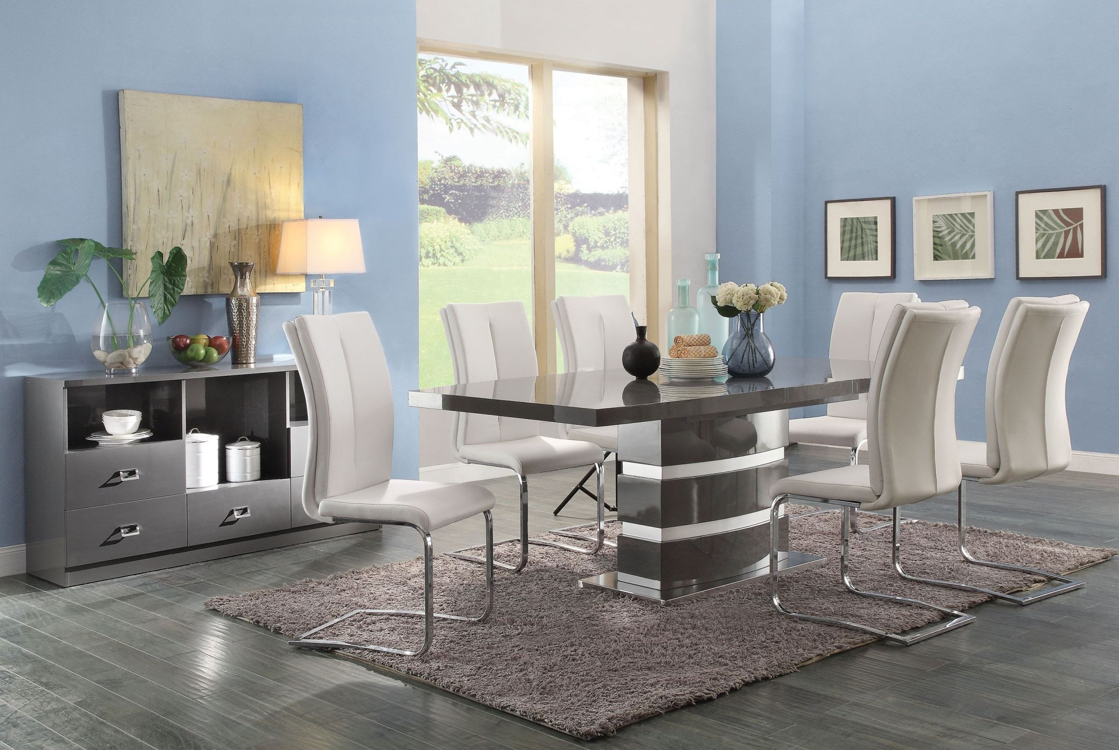 Lowry 7 Piece Dining Table Set High Gloss Taupe And Metal