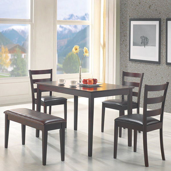 Dining Room Discount Furniture: Taraval 5 PC Dining Set (Table 3 Chairs & Bench)