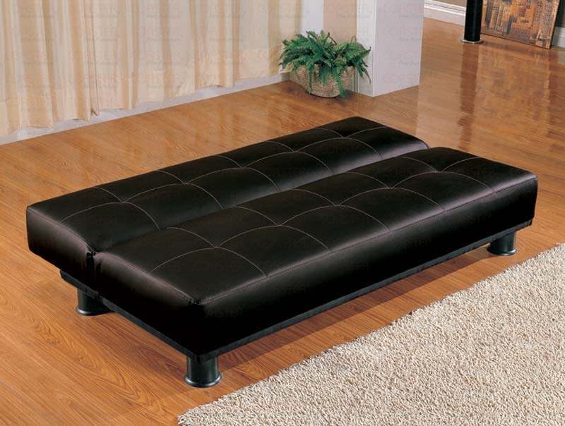 Faux Leather Modern Convertible Black Sofa Bed Marjen Of