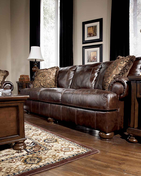 Axiom Walnut All Leather 4200038 Sofa Marjen Of Chicago