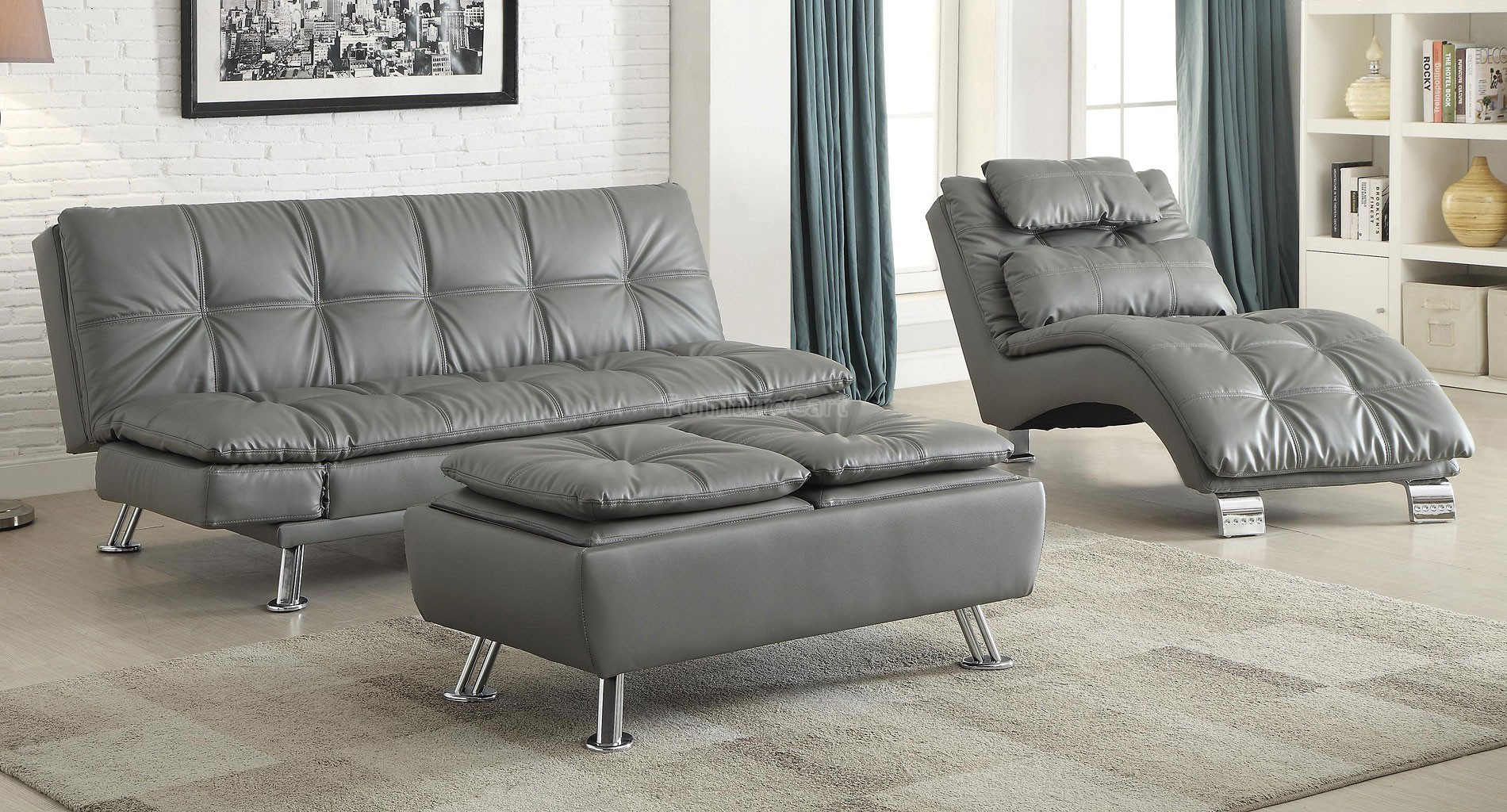 Sofa Bed Grey With Available Matching Chaise And Storage Ottoman Marjen Of Chicago