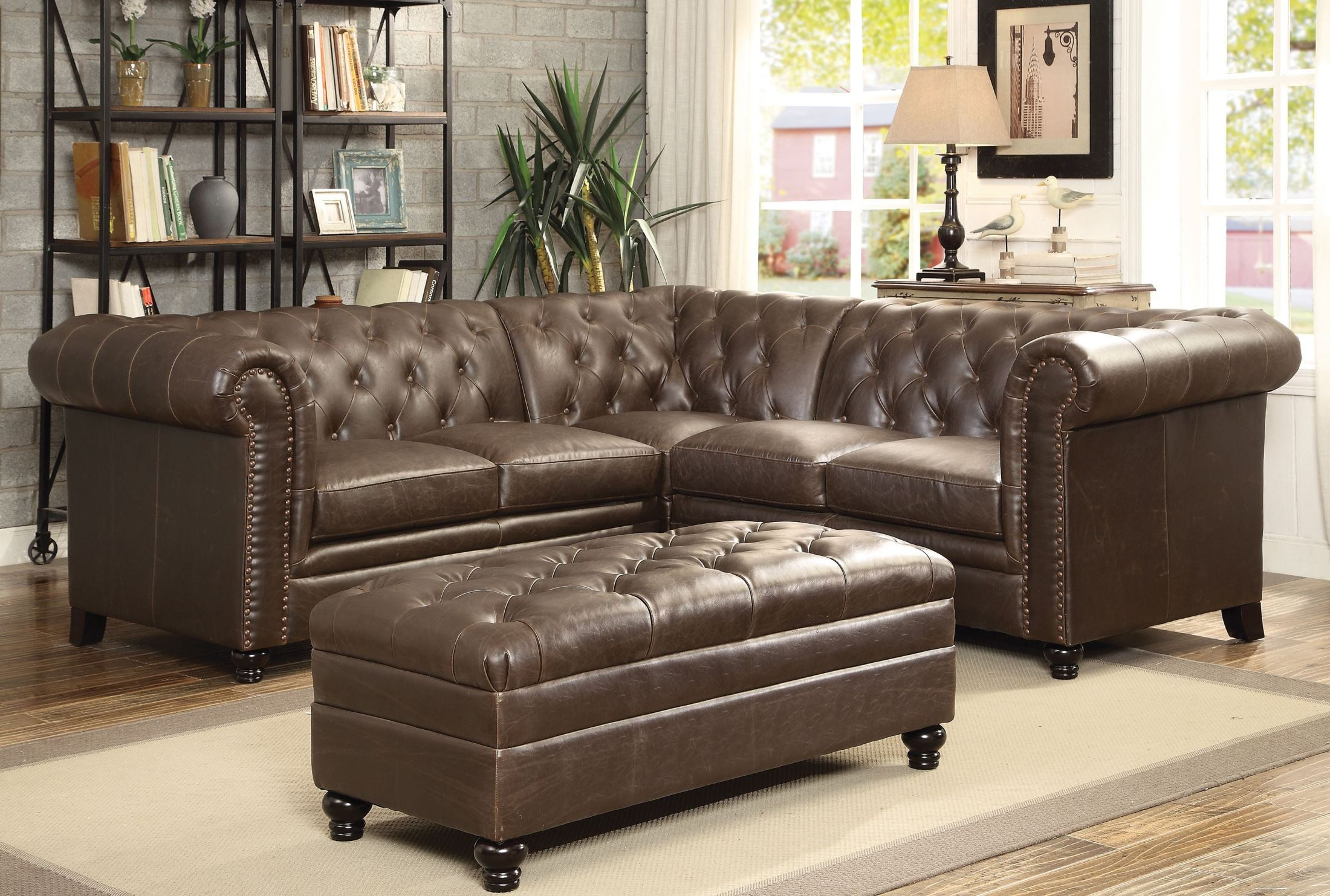 Roy Traditional Brown Bonded Leather Pocket Coil Seating