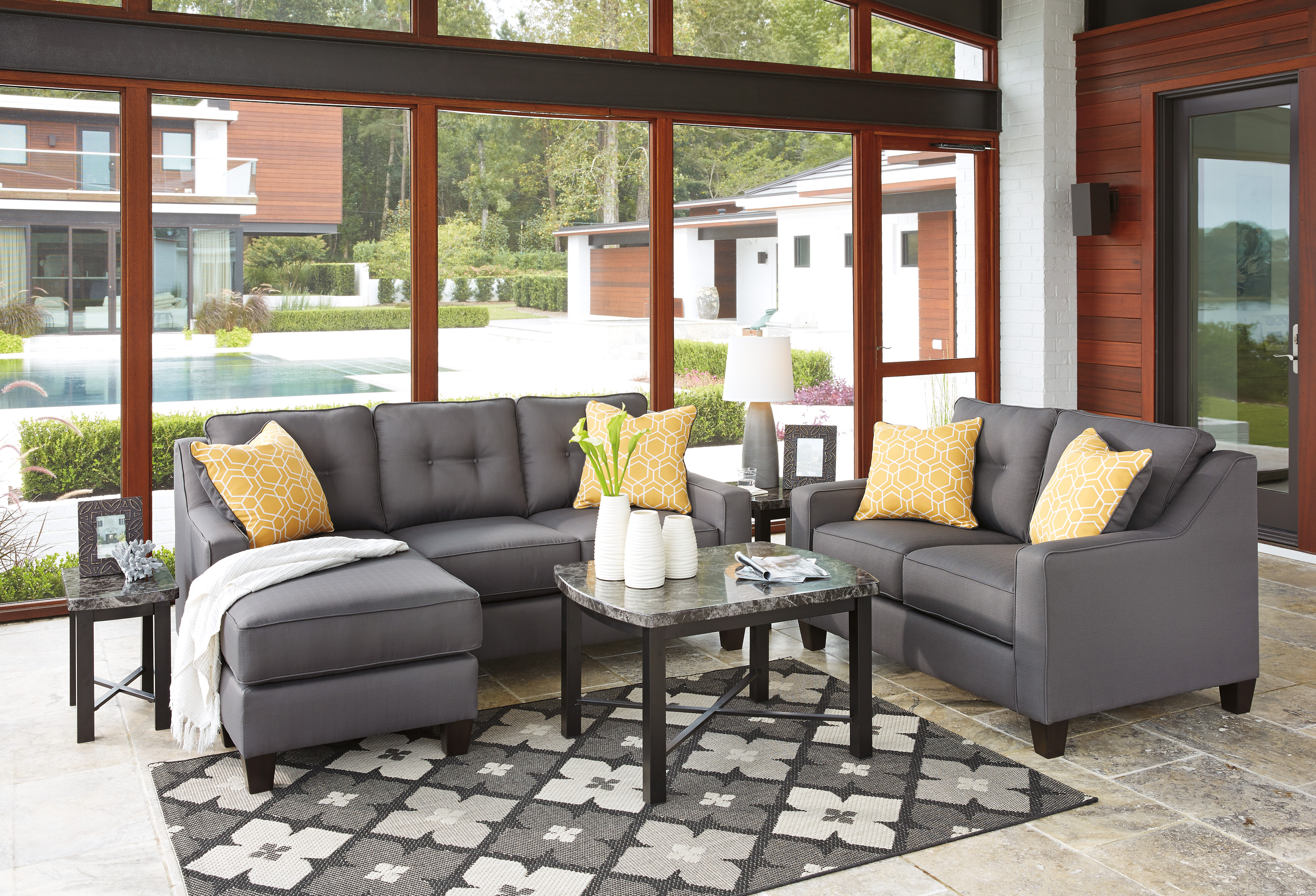 Aldie Nuvella Gray Queen Sofa Chaise Sleeper features easy ...