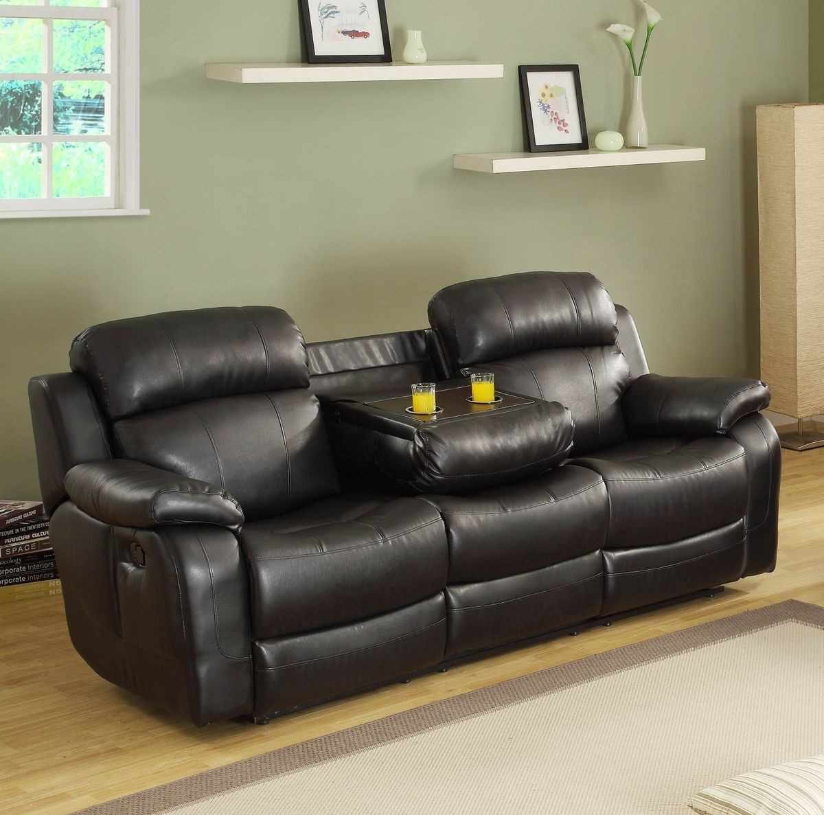 Homelegance marille double reclining sofa w center drop down cup holders in black leather Reclining loveseat with center console