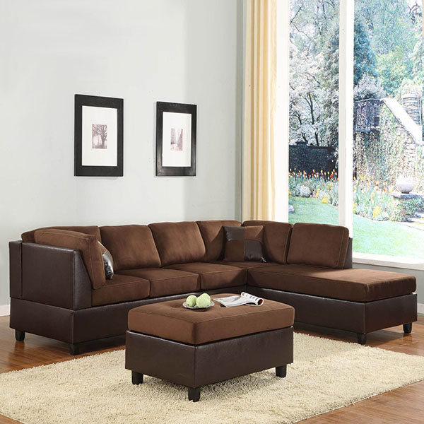 Home elegance chocolate microfiber sectional sofa for Sectional couch clearance sale