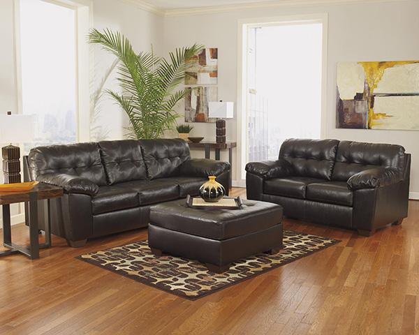 Ashley Alliston Chocolate Leather Blend Modern Sofa And