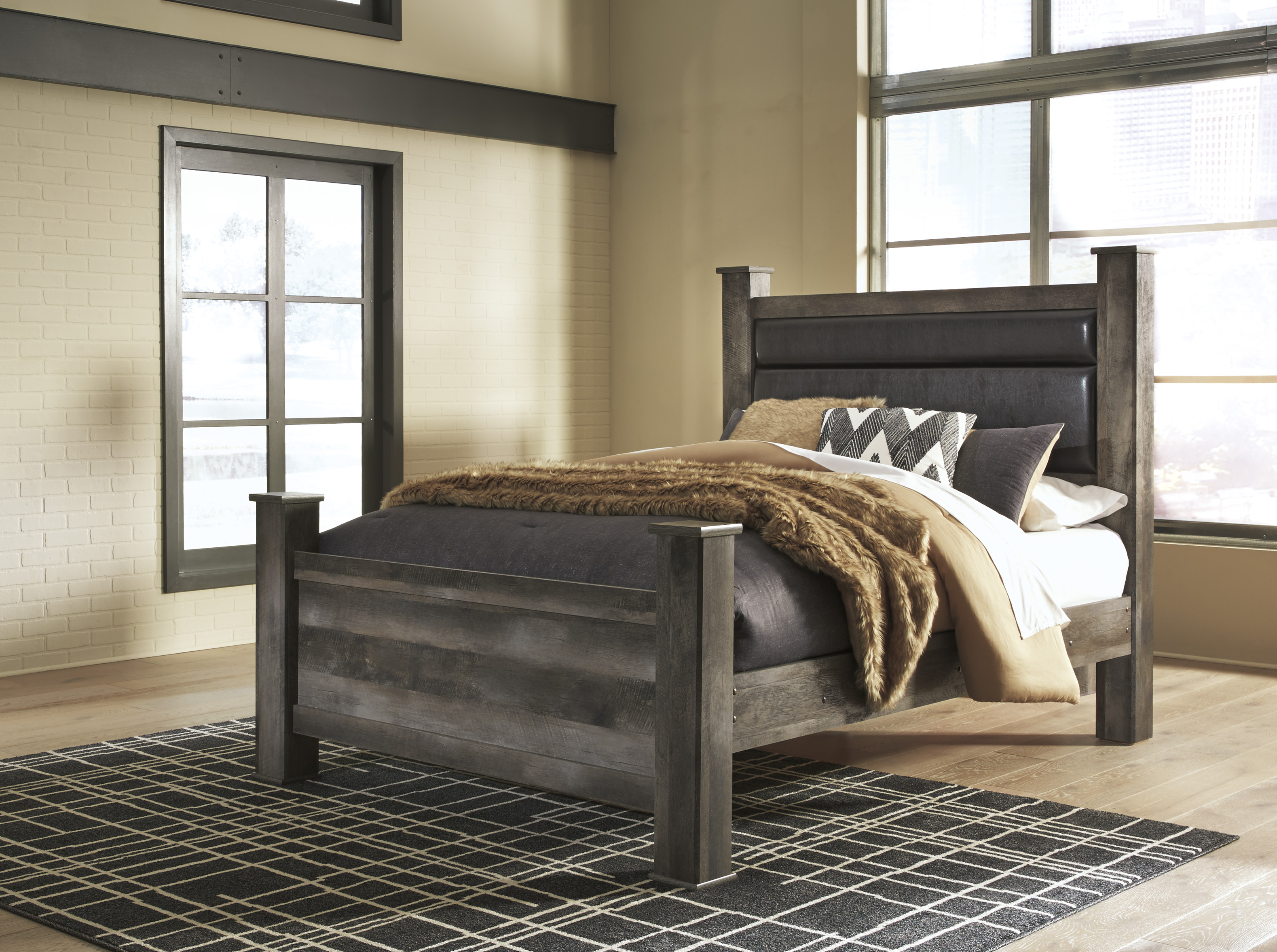 Wynnlow Gray Casual Upholstered Poster Bedroom Set Free Delivery Marjen Of Chicago Chicago