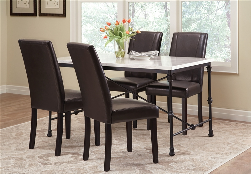 Rustic And Durable Nagel Dark 5 Pcs Marble Top Dining Table Set Black Faux Leather Or Ivory Linen Chairs