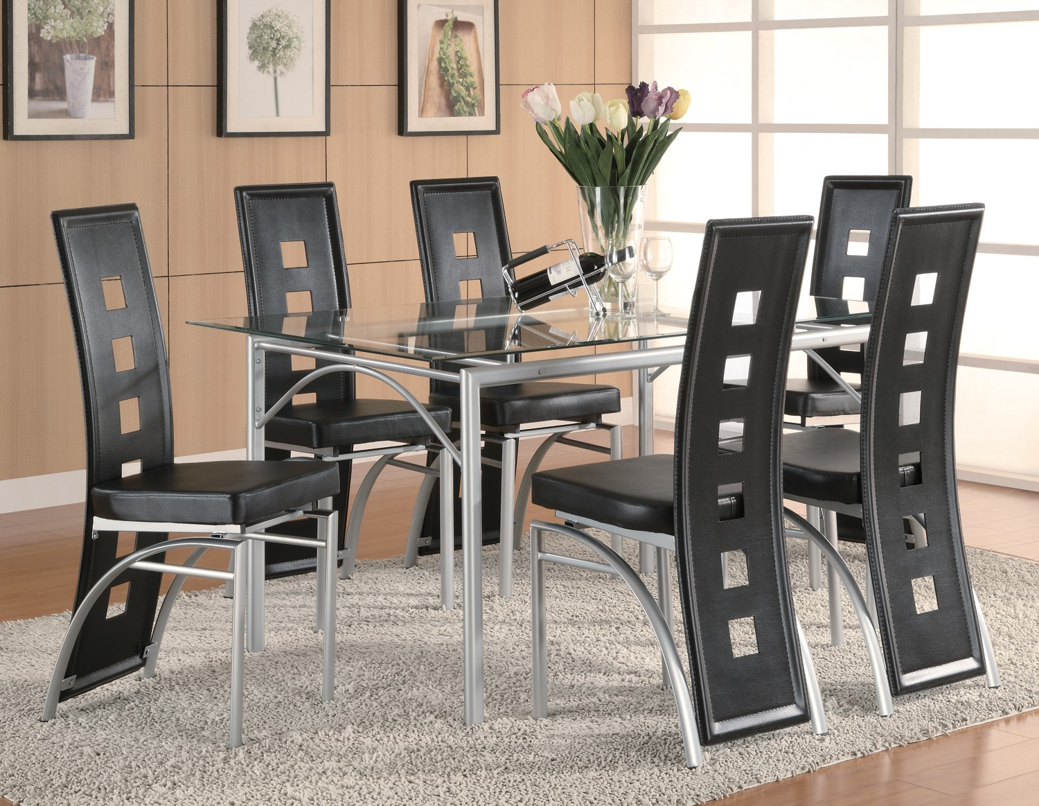 Superbe Los Feliz 7 Piece Dining Set (RED Or Black) Manager Special!