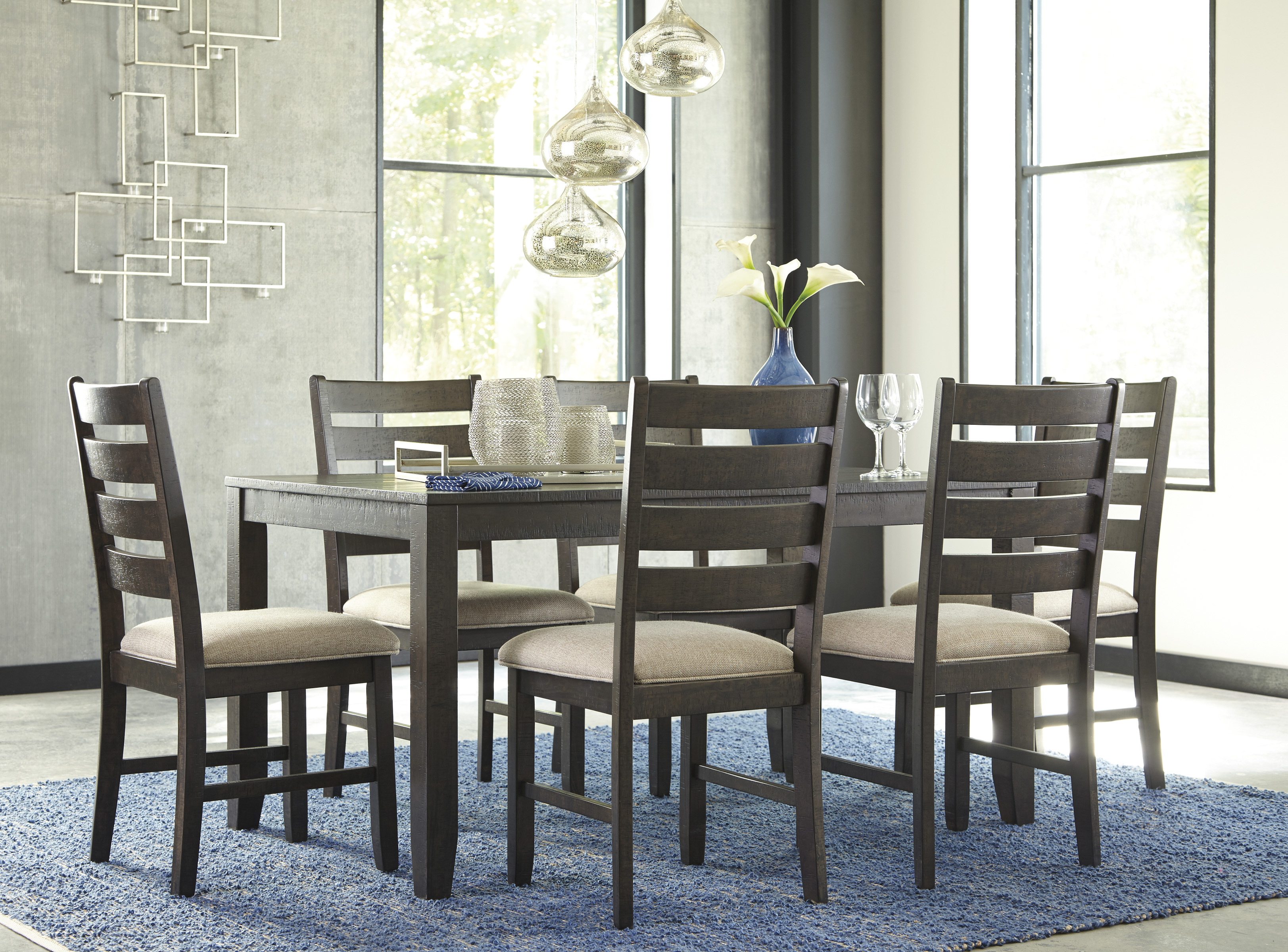 Rokane Casual 7 Pc Dining Table Set With Six Chairs Marjen Of Chicago Chicago Discount