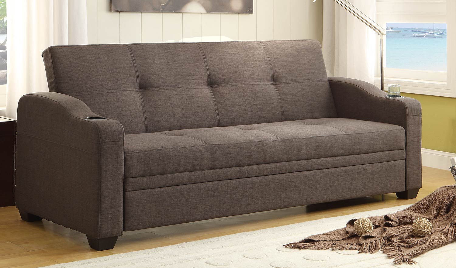 Homelegance Caffrey Elegant Lounger Sofa Bed Dark Grey