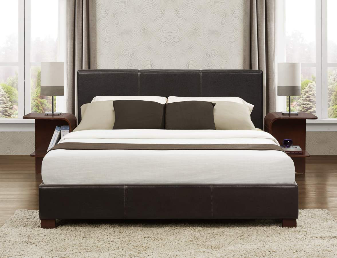 Zoey Platform Bed In Dark Brown Faux Leather Full Or
