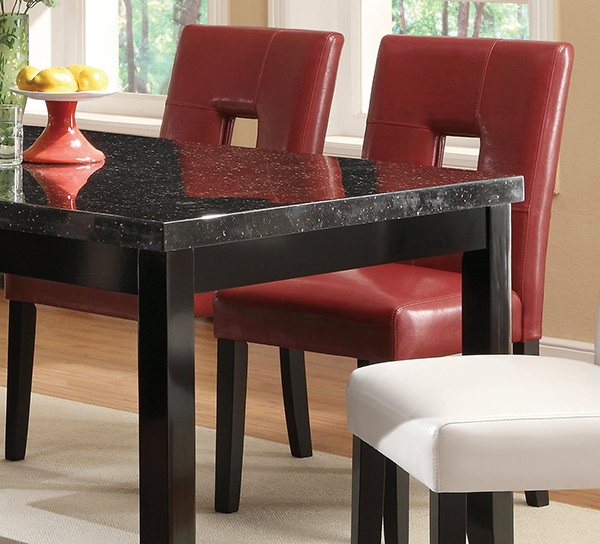 Newbridge 7 Piece Dining Table And Chair Set Black Red