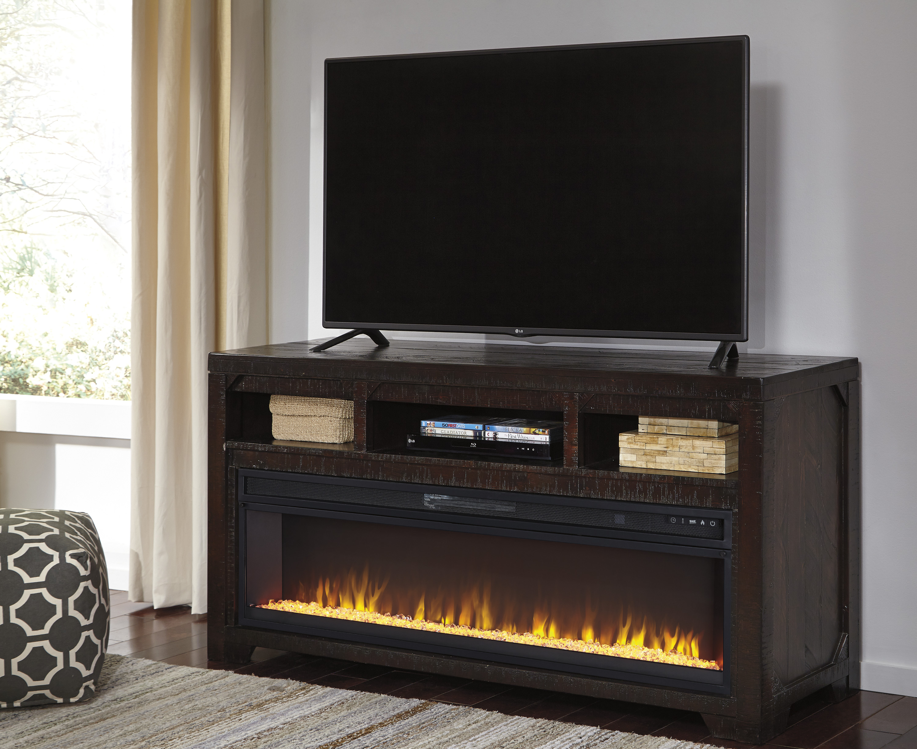 Rogness Dark Brown Lg Tv Stand With Wide Fireplace Insert