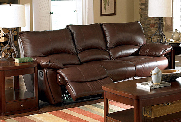 Clifford Overstuffed Double Reclining Sofa In Brown