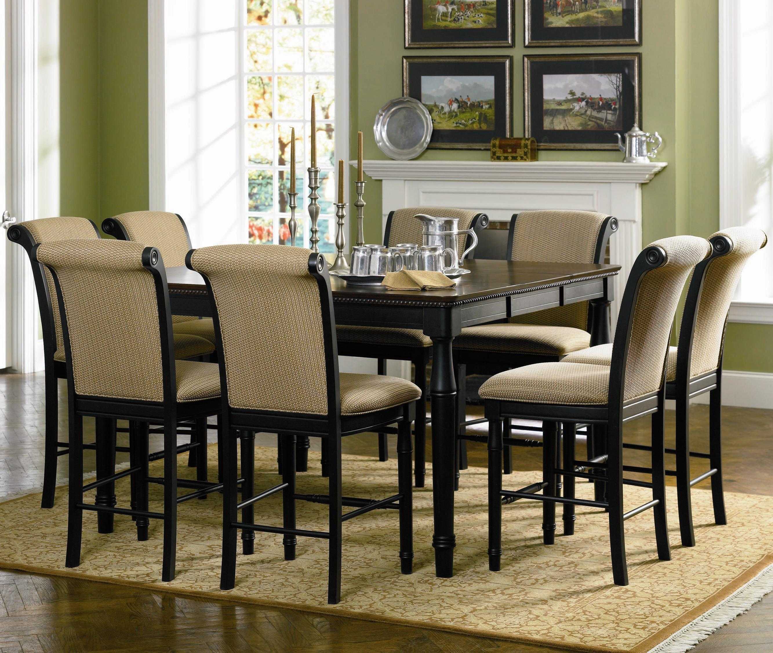 Cabrillo Cappuccino 9 Piece Counter Height Dining Set In Black Amaretto Marjen Of Chicago Chicago Discount Furniture